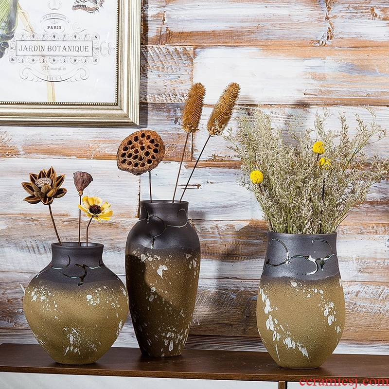 Jingdezhen ceramic vase furnishing articles dried flower flower implement I and contracted household sitting room adornment table dry flower arrangement to restore ancient ways
