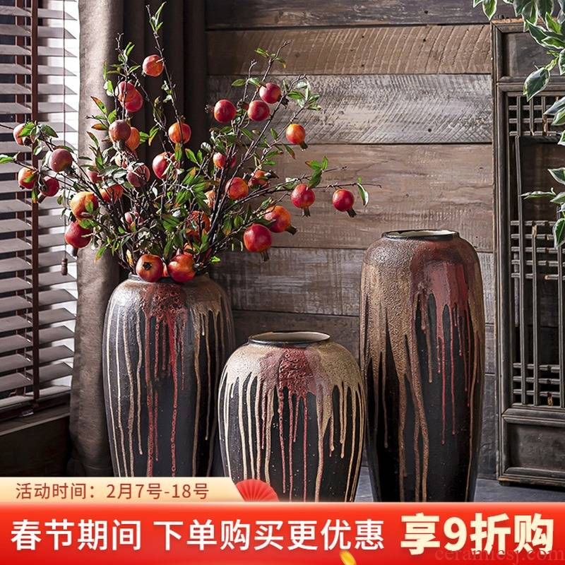 New Chinese style ceramic glaze zen flow big vase furnishing articles creative flower arranging retro sitting room decorative POTS do old literature and art