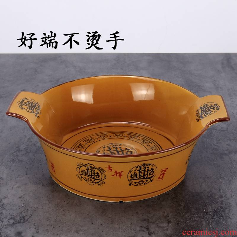 Ears against the hot ceramic large take the food bowl of boiled fish pickled fish basin of sichuan spicy pot soup bowl bowl bowl