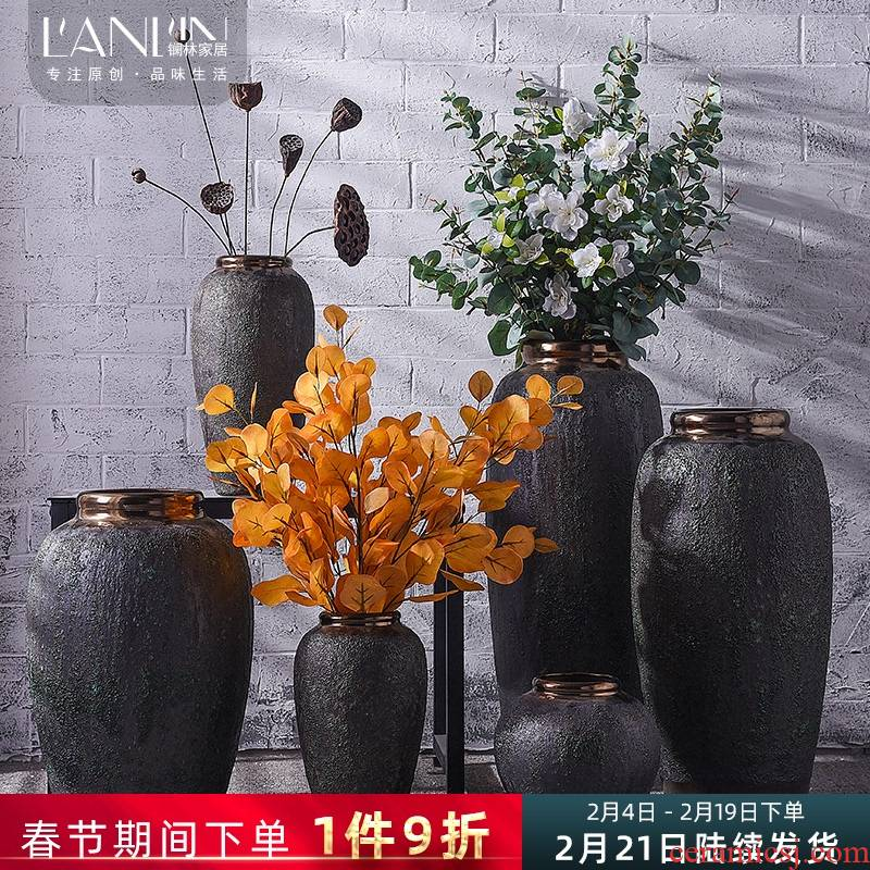 Restore ancient ways the ground dried flowers large vase coarse some ceramic pot sitting room adornment home furnishing articles of jingdezhen ceramics