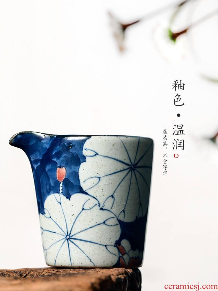 Jingdezhen kung fu tea tea set a single ceramic fair keller points is reasonable heat resisting high temperature pot of blue and white hand draw lotus