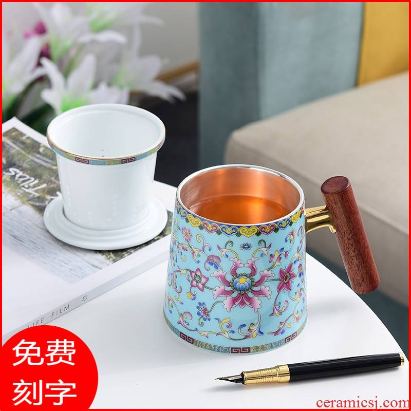 Jingdezhen colored enamel cup silver cup 999 sterling silver tea cups male ms office separation filter cup