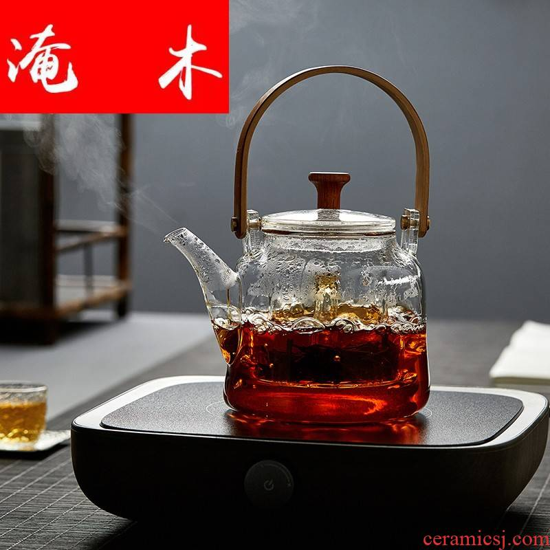 Flooded wooden Japanese high - temperature glass teapot cooked pu - erh tea, black tea tea steamer household electricity TaoLu special kettle mercifully