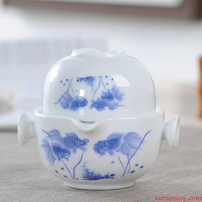 Travel tea set a pot of a individual cup hand - made porcelain ceramic portable office teapot tea crack cup