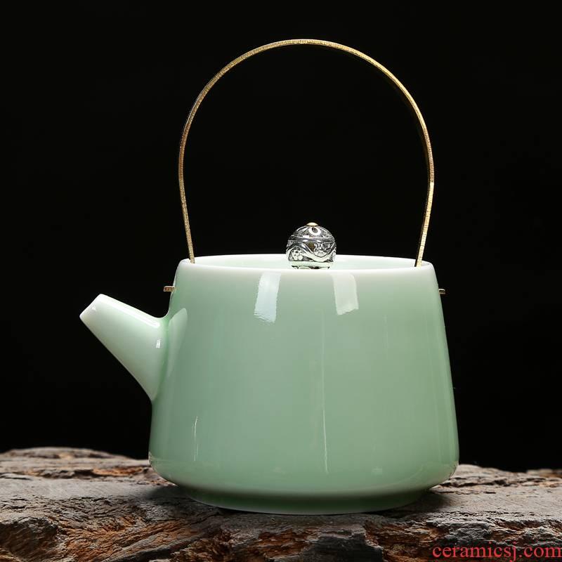 Celadon ceramic teapot kung fu tea set little teapot name plum green powder green teapot small single girder pot teapot