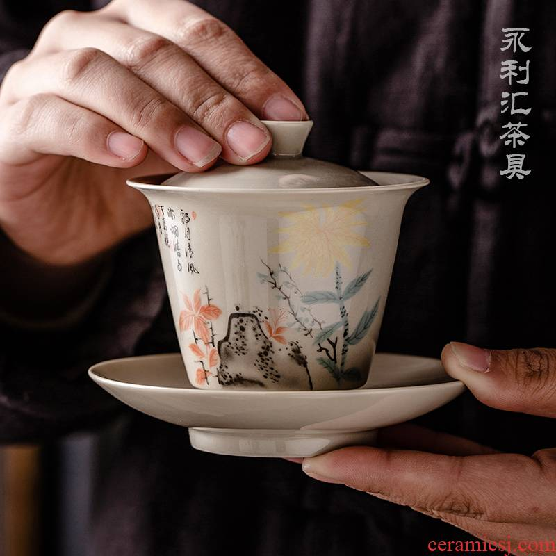Public remit only three tureen horseshoe a single small tea cup bowl kung fu tea set three fort jingdezhen ceramics