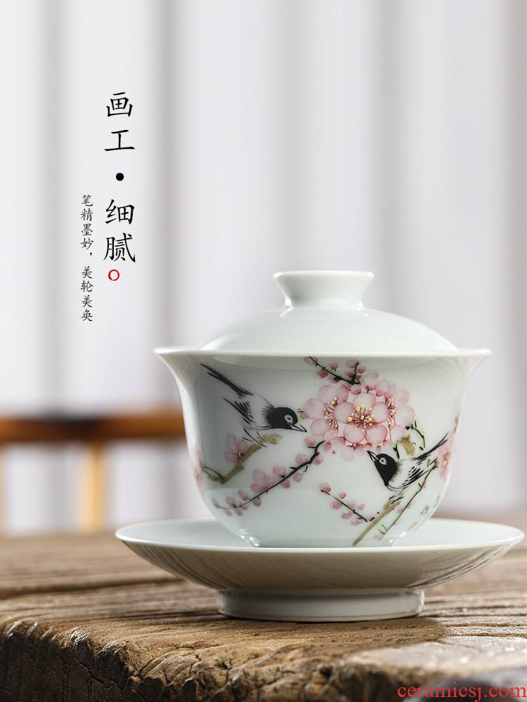 Jingdezhen pure manual only three tureen Xu Jiaxing hand - made points peach blossom put tea bowl of hot water large - sized kung fu tea set