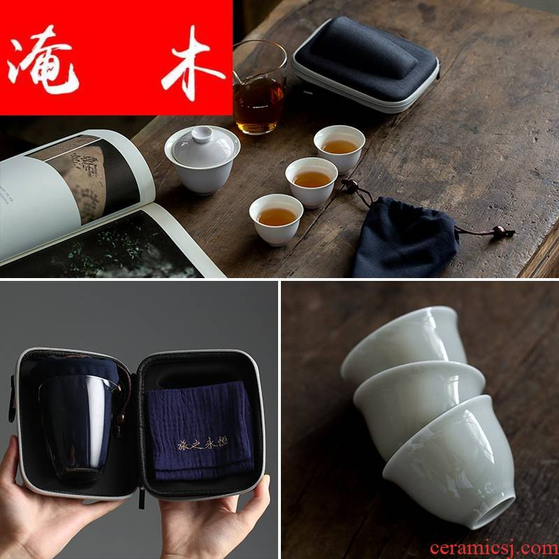 Flooded eternal crack of wood dragon cup a pot of two glass ceramic tureen portable package kung fu suit household is suing travel