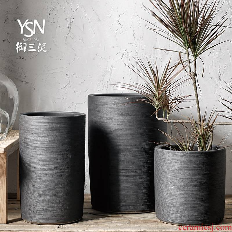 Nordic flowerpot adornment to heavy green plant planting place flowerpot contracted pure black ceramic flower bed modern indoor and is suing