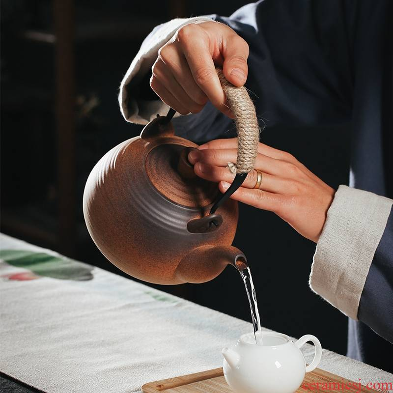 Qiao mu coarse pottery clay POTS electric heating the boiling kettle ceramic POTS of tea, the electric TaoLu alcohol heating the pot of girder pot pot side