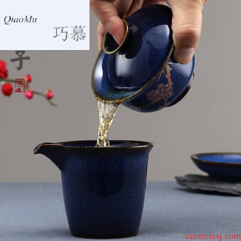 Qiao MuFengZi ceramics ancient porcelain cups tureen lid three cup kunfu tea cover cup tea kungfu tea set