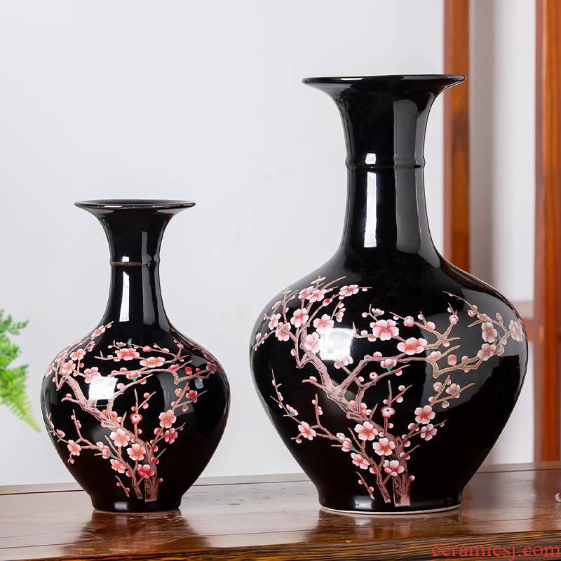 Jingdezhen ceramics sharply porcelain glaze vase sitting room of Chinese style household adornment flower arranging TV ark, handicraft