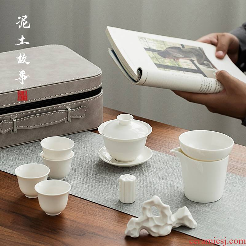 Dehua white porcelain tea set in lard white porcelain pot of two cups of a portable travel gifts custom logo is suing the teapot