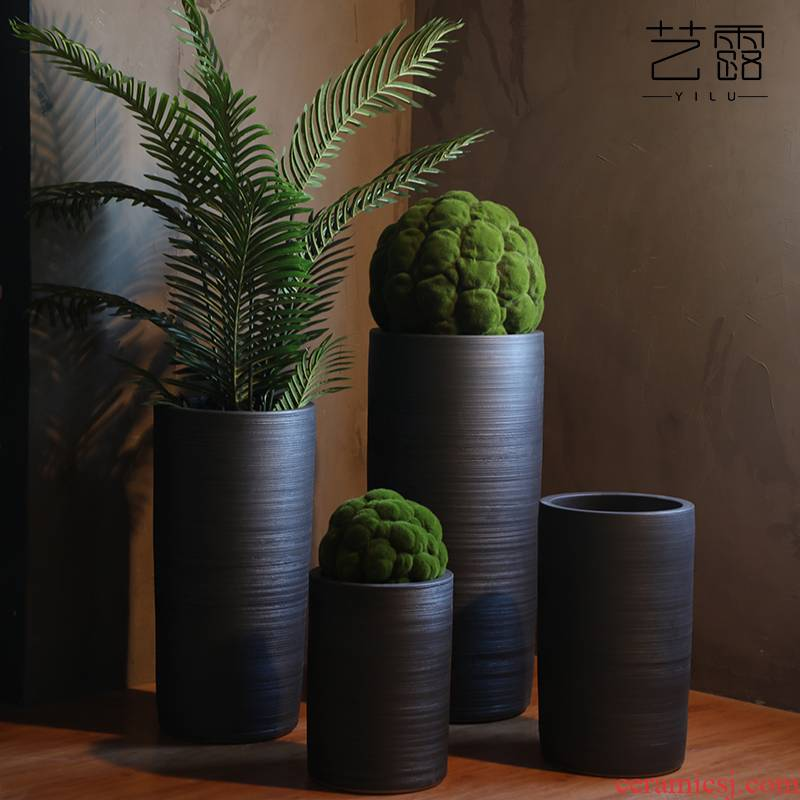 Large flower pot ceramic furnishing articles of Chinese style restoring ancient ways POTS sitting room hotel decoration flower arranging dried flowers thick ceramic bottle