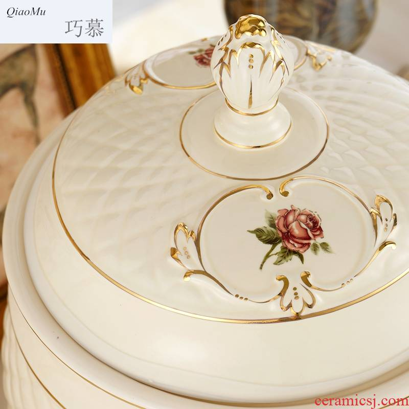 Qiao mu barrel ceramic European - style ricer box with cover 20 jins home 10 kg kitchen receive a case barrels of flour 5 kg