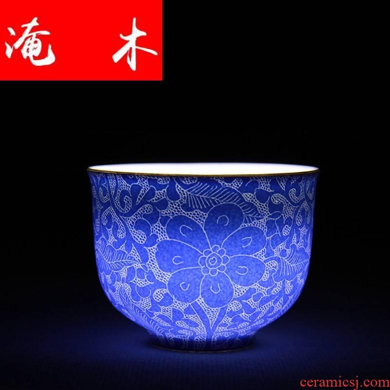 Flooded the wood post manual pick flowers famille rose porcelain heart cup tea kungfu tea cup single glaze sample tea cup