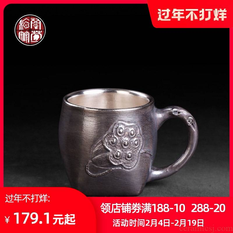 Hand wrapped tasted silver gilding office all checking silver cup kung fu tea cup single take ceramic masters cup restoring ancient ways
