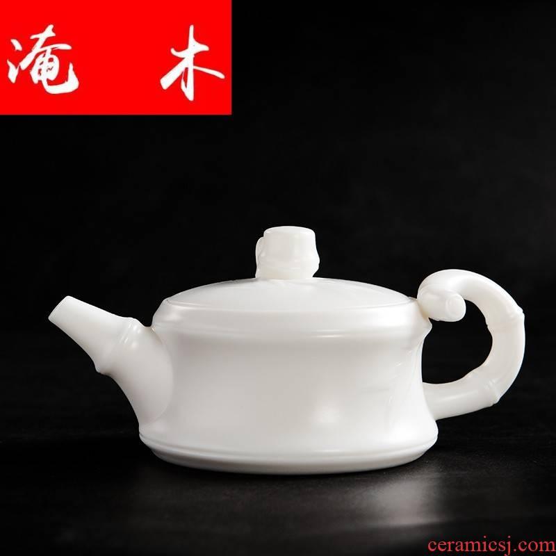Submerged wood high white porcelain teapot bamboo suet jade porcelain teapot ceramics single pot of kung fu tea set white belt filter hole