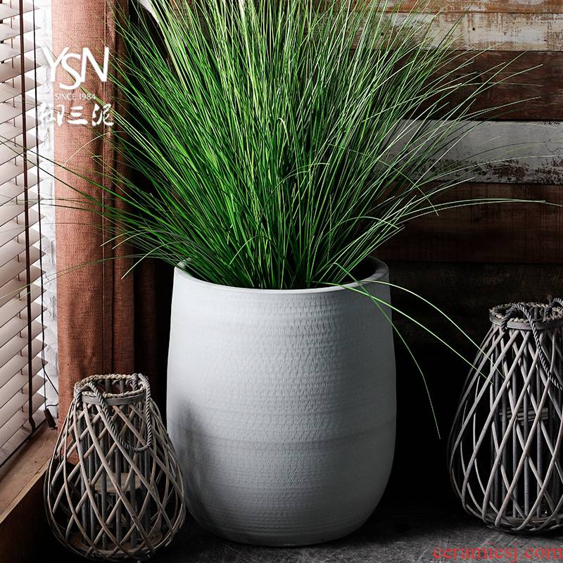 Indoor plant decoration cylinder Nordic flowerpot I and contracted vase imitation ceramic cement color green, the plants hydroponics large diameter