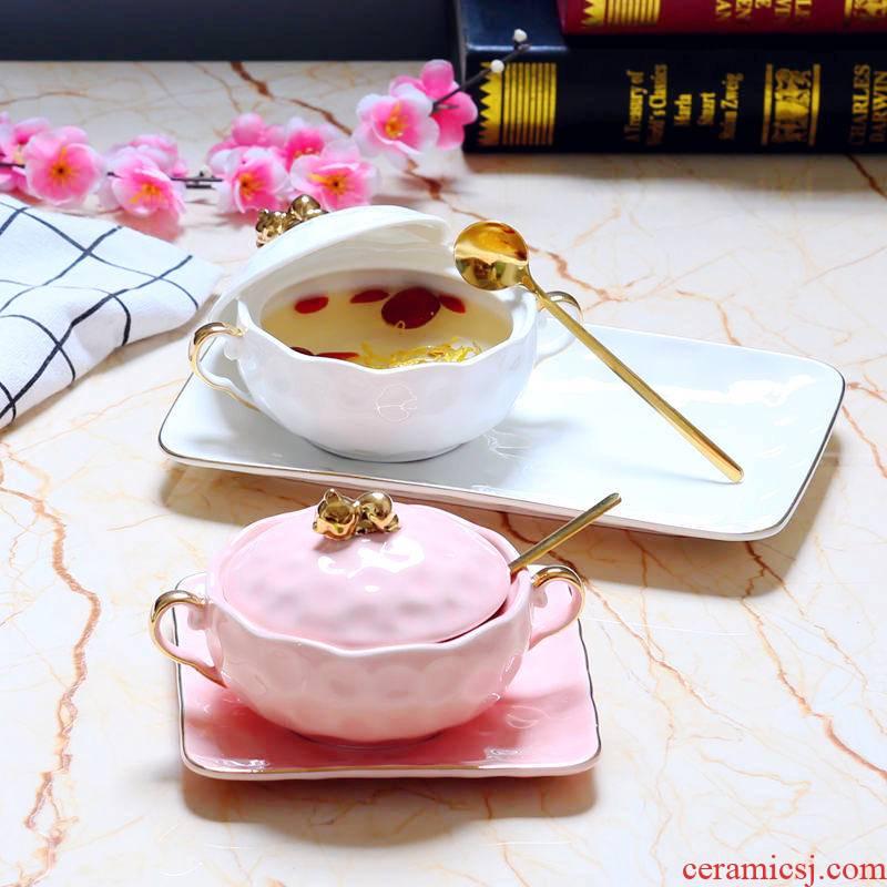 Dessert bowl of bird 's nest ears tremella European cup bowls of soup bowl golden pig sugar water bird' s nest paint ceramic bowl of steamed dense eggs
