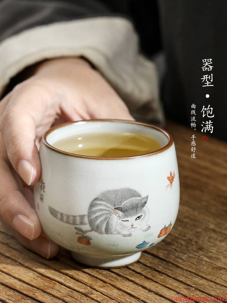 Jingdezhen hand - made master cup cup pure manual your up ceramic sample tea cup single cup from the cat for a cup of tea