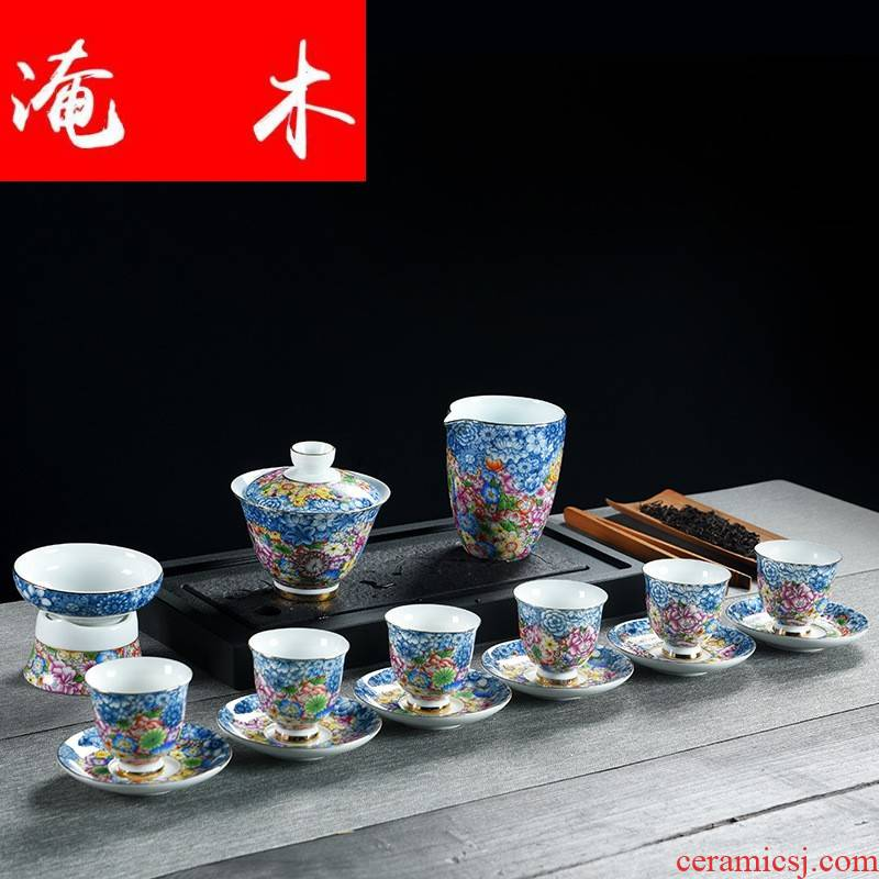 Submerged wood white porcelain tureen kung fu tea set high - grade relief paint only three bowl of tea, tea set ceramic cups l