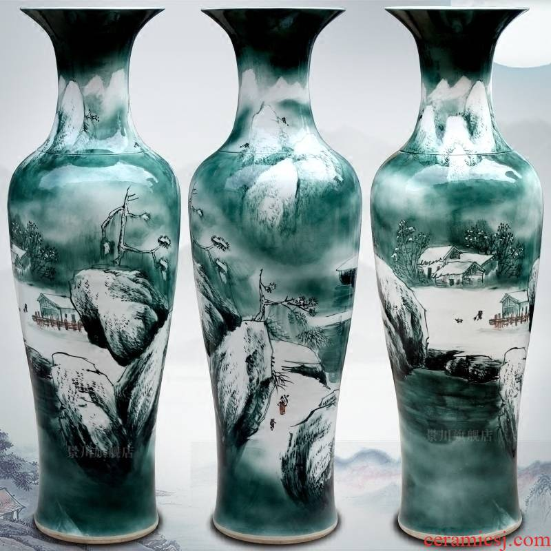 Jingdezhen hand - made the sitting room of modern Chinese landscape painting of large vase household ceramics furnishing articles hotel decoration