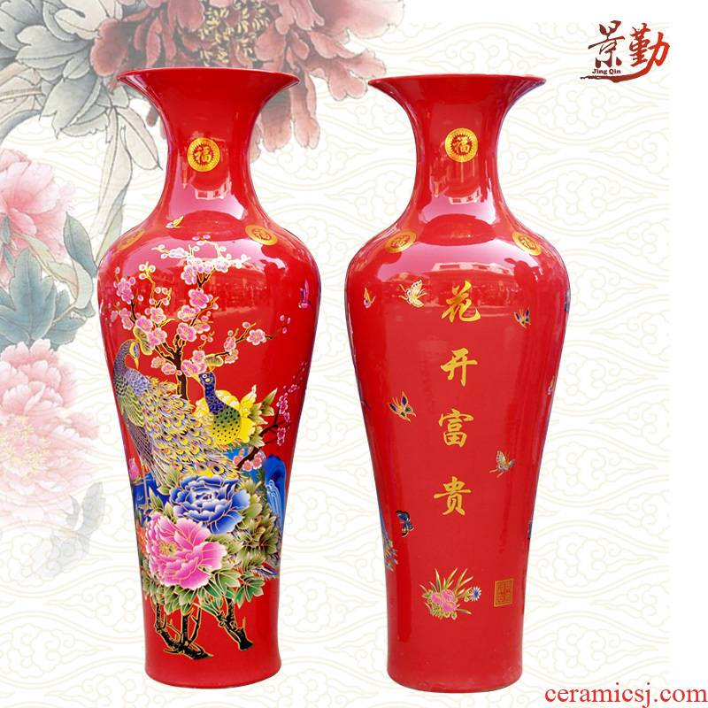 091 jingdezhen ceramic blooming flowers sitting room of large vase household KTV decorating a wedding gift