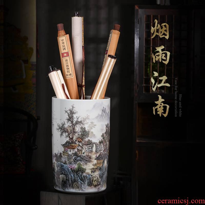 Jingdezhen ceramic painting and calligraphy calligraphy and painting to receive cylinder cylinder barrels of calligraphy and painting scroll cylinder study ground umbrella barrel decorative furnishing articles