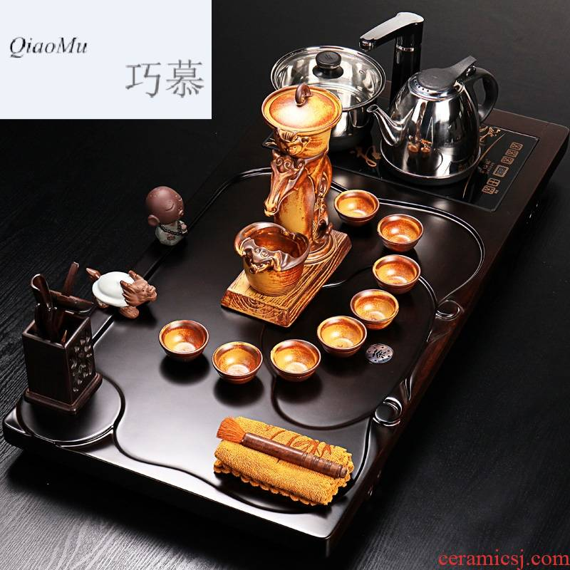 Qiao mu ebony wood tea tray of a complete set of kung fu tea sets coarse pottery stone mill your up four unity induction cooker tea table