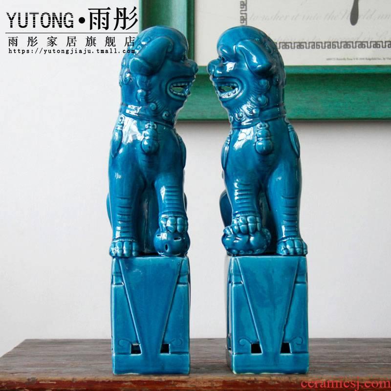 Home decoration porcelain of jingdezhen ceramic furnishing articles lion its porcelain decoration creative Chinese ice crack glaze technology