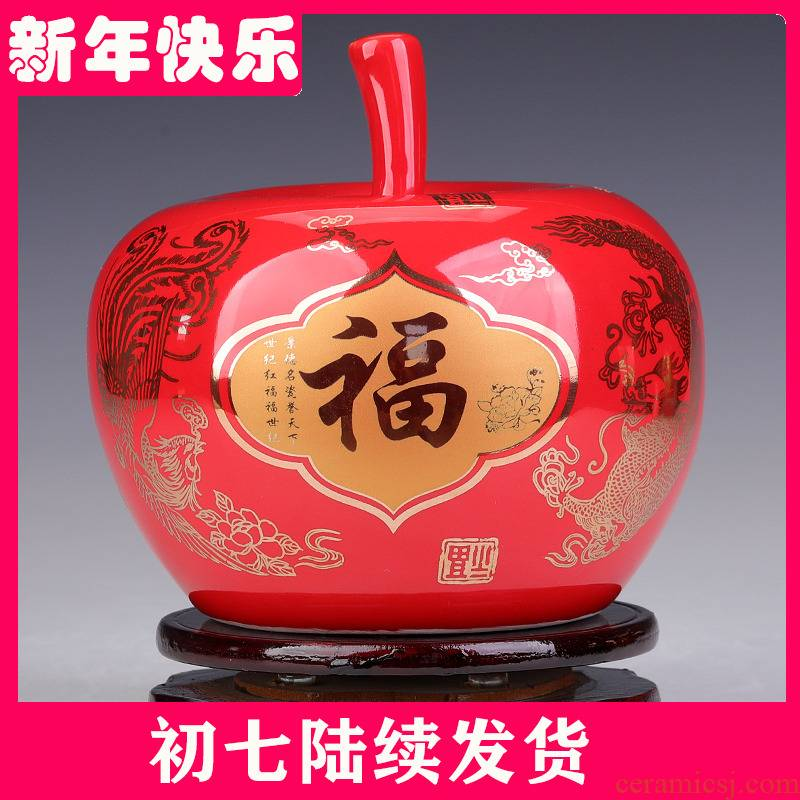 Jingdezhen ceramic Chinese red small place marriage red apple porch decoration decoration ideas sitting room crafts