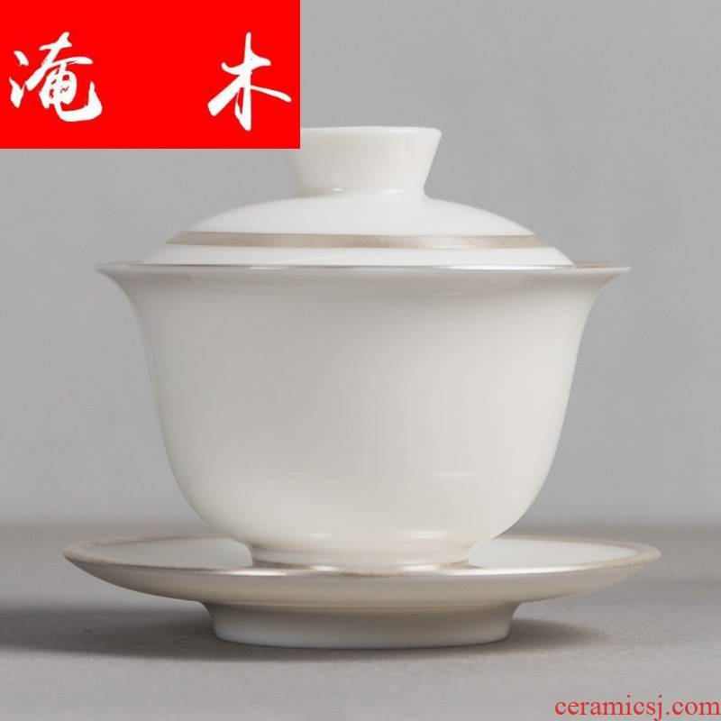 Submerged wood 999 sterling silver mine loader silver suet jade porcelain tureen tea set three to kung fu tea large - sized ceramic bowl