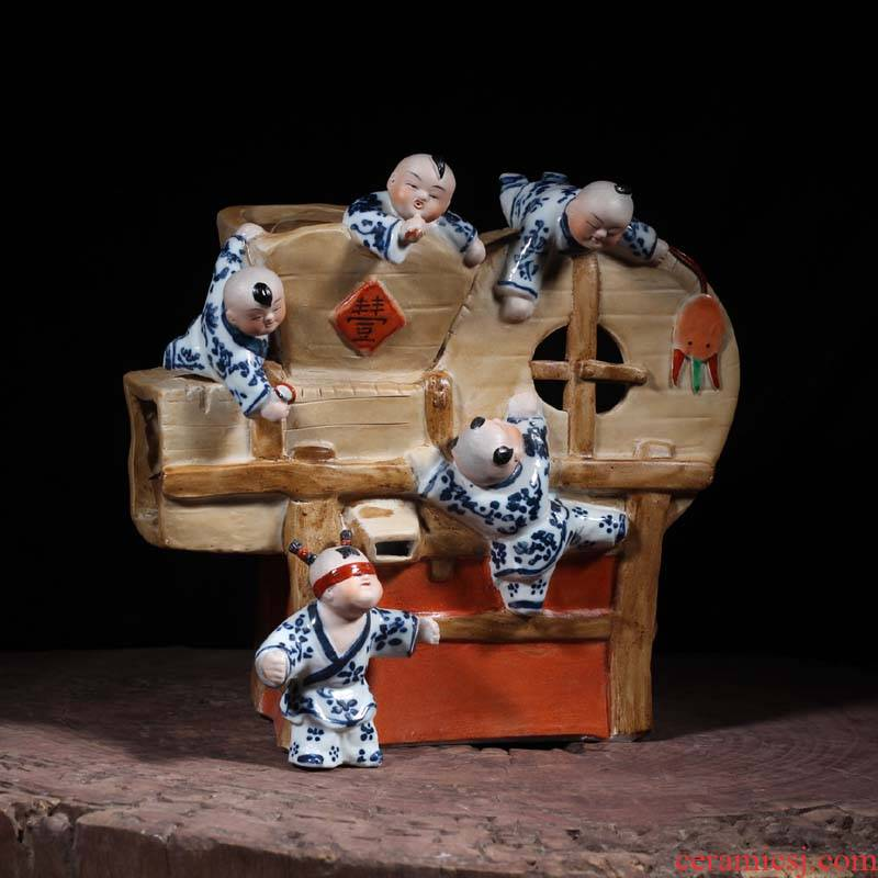 Jingdezhen porcelain art China children hide and seek with a good harvest tools windmill art porcelain