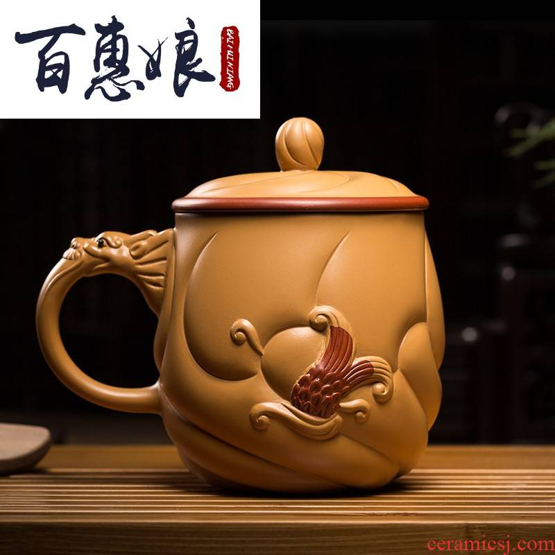 (niang yixing purple sand cup cup run of mine ore section of mud fish dragon cup with cover manual office