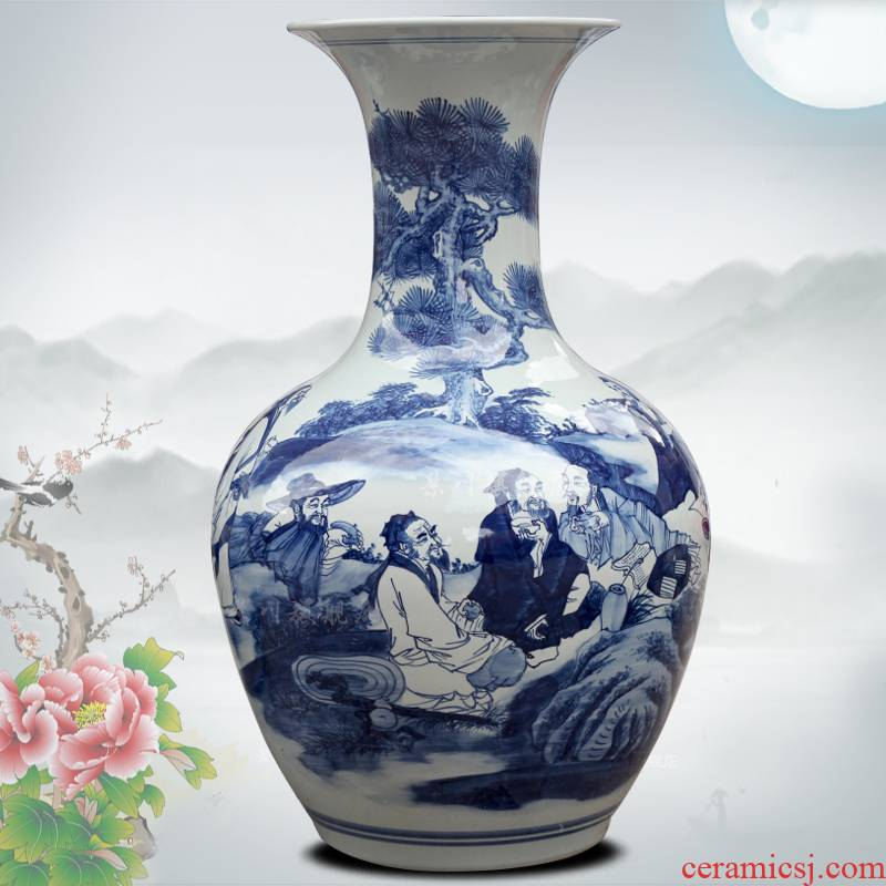 Jingdezhen blue and white porcelain hand - drawn characters home sitting room office study Chinese ceramics of large vases, furnishing articles