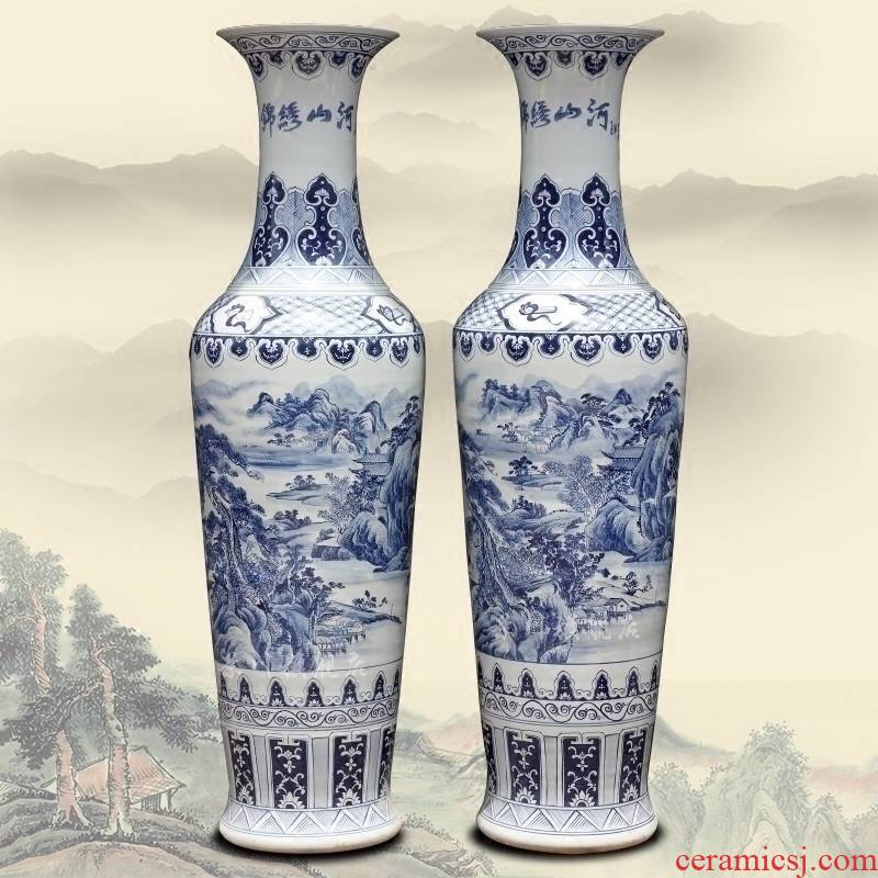 Jingdezhen blue and white porcelain hand - made splendid sunvo goddess of mercy bottle of large vases, home sitting room hotel decoration furnishing articles