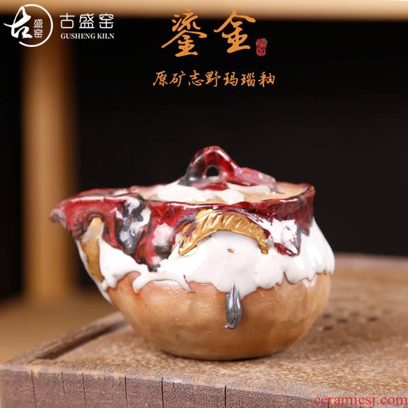 The ancient 24 k Jin Zhiye agate POTS sheng up up with single hand made tzu wild tea pot teapot embellish Bai Zhiye'm earthen POTS