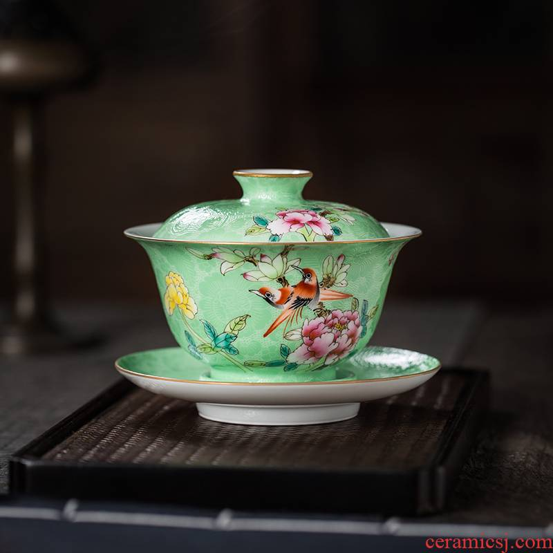 The Owl up with jingdezhen ceramic tureen manually only three cups of grilled flower color glaze hand - made kung fu tea tea bowl
