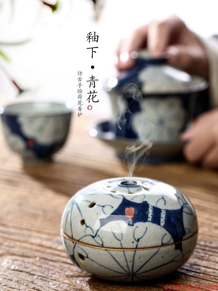 Ken shun ke censer jingdezhen blue and white lotus hand - made ceramic sandalwood aroma furnace accessories checking out the tea