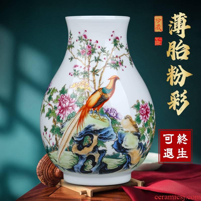 Jingdezhen ceramic vase famille rose flower arranging flowers, Chinese style household adornment porcelain home sitting room desktop furnishing articles