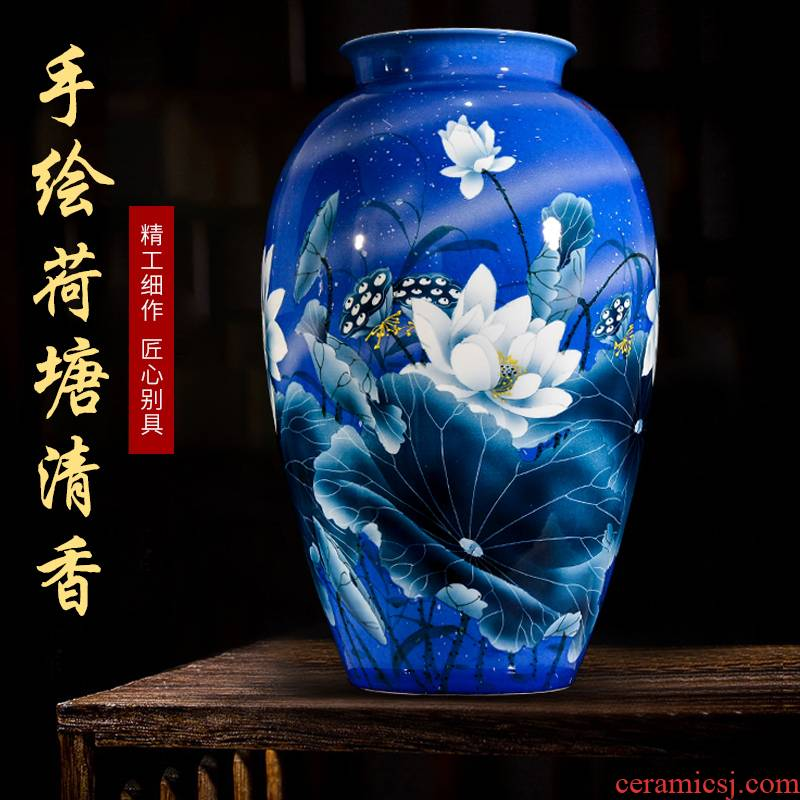 Jingdezhen blue and white hand - made ceramic lotus flower arranging Chinese large vase furnishing articles, the sitting room porch home decoration