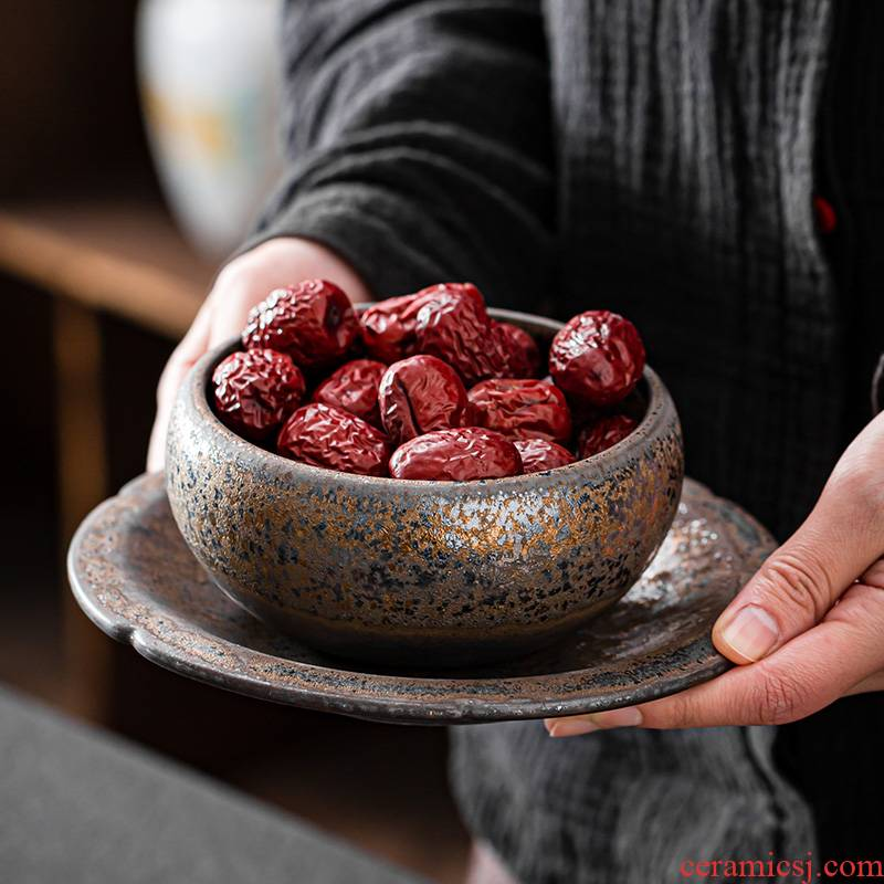 Japanese checking coarse pottery bowl of Japanese compote ceramic bowl contracted little snacks the nut bowl of restoring ancient ways of household fruit bowl