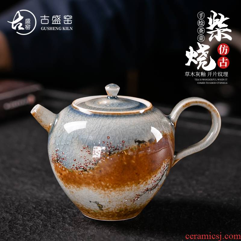 Ancient sheng up with pure manual plant ash wood, hand - made ceramic teapot single pot pot of high - end teapot can open piece of kung fu