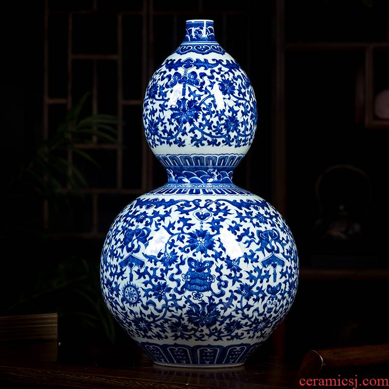 Jingdezhen ceramics archaize qianlong vase hand - made gourd bottle of blue and white porcelain vases TV ark place decoration