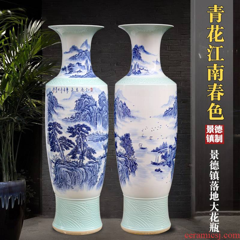 Jingdezhen blue and white porcelain hand - made jiangnan spring scenery of large vase sitting room porch TV ark, study place decoration