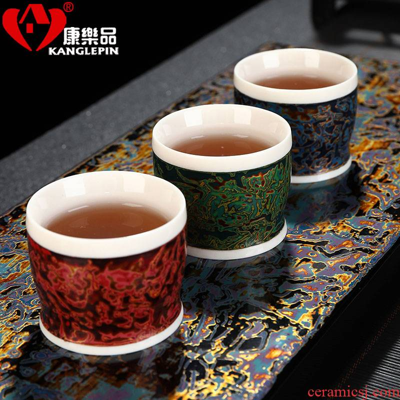 Recreational product lacquer tea biscuit firing pure manual big white porcelain ceramic kung fu masters cup cup household small cups