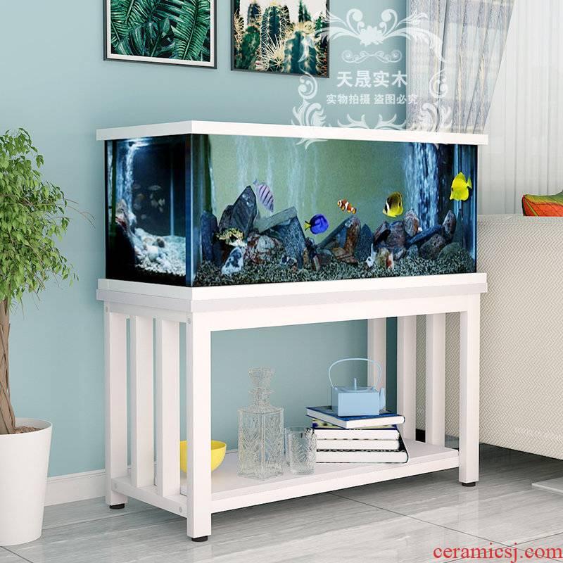 Tank bottom ark, solid wood cabinet shelf small aquarium fish Tank frame base bottom ano ano customized Tank bottom shelf