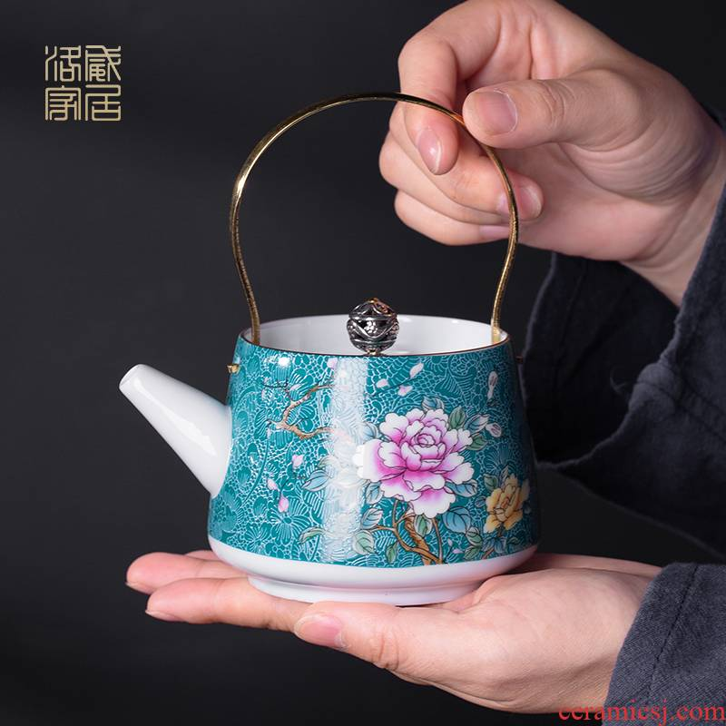Grilled, flower ceramic teapot single pot home little teapot teacup ceramic small mini girder pot teapot