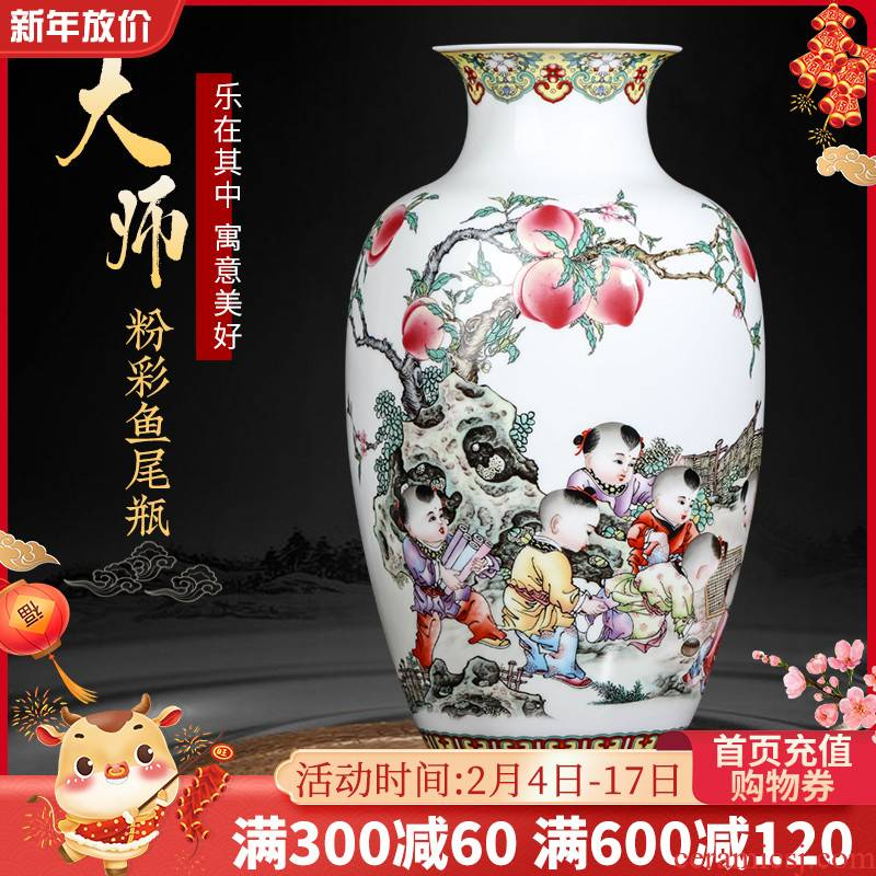Jingdezhen ceramics powder enamel vase furnishing articles flower arranging new sitting room of TV ark, rich ancient frame of Chinese style household ornaments